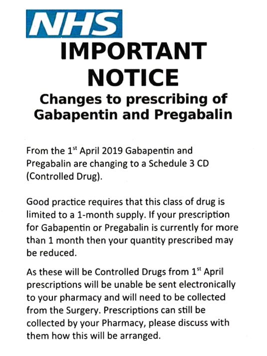 IMPORTANT NOTICE ~ Changes to prescribing of Gabapentin and Pregabalin
