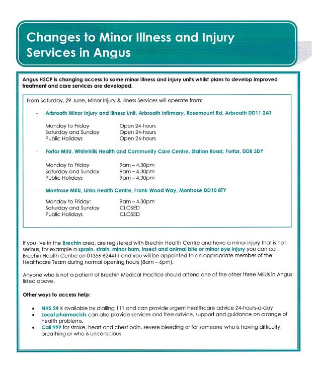 MINOR ILLNESS AND INJURY SERVICES from 29th June 2019